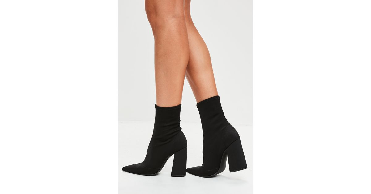 Missguided Flared Heel Sock Boots GYV1fy