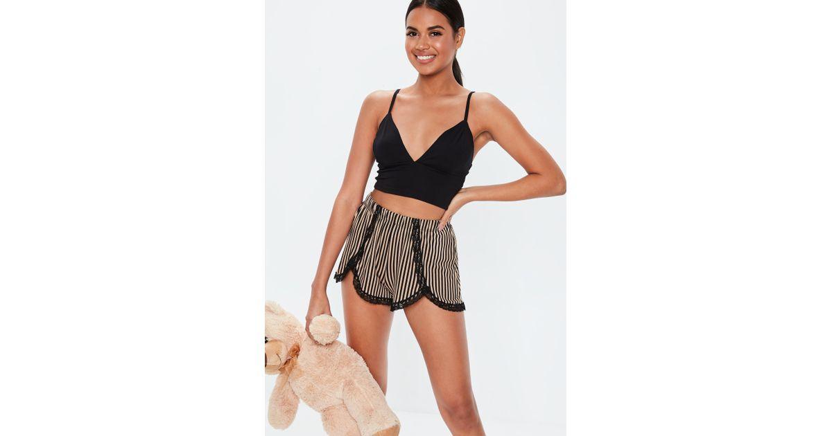 Missguided Camel Stripe Cami Lace Short Pyjama Set in Black - Lyst 76ce1e39eeffc