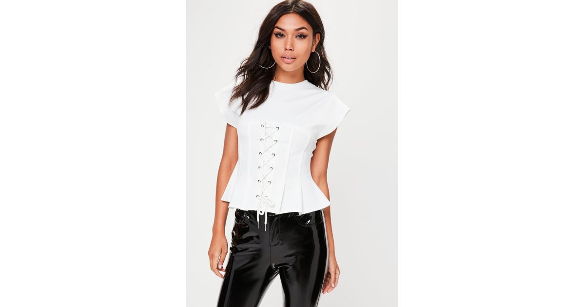 0d2016b35cd6 Lyst - Missguided White Lace Up Corset T-shirt in White