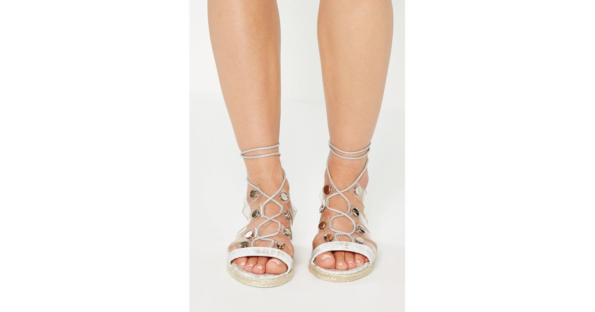 d6a5fedad4599 Missguided White Transparent Straps Flat Sandals in White - Lyst