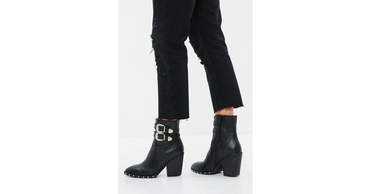 08c2ce606d1 Missguided - Black Faux Leather Buckle Ankle Boots - Lyst