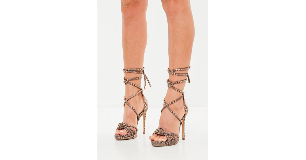 70e29b057f Lyst - Missguided Brown Check Knotted Front Platform Sandals in Brown