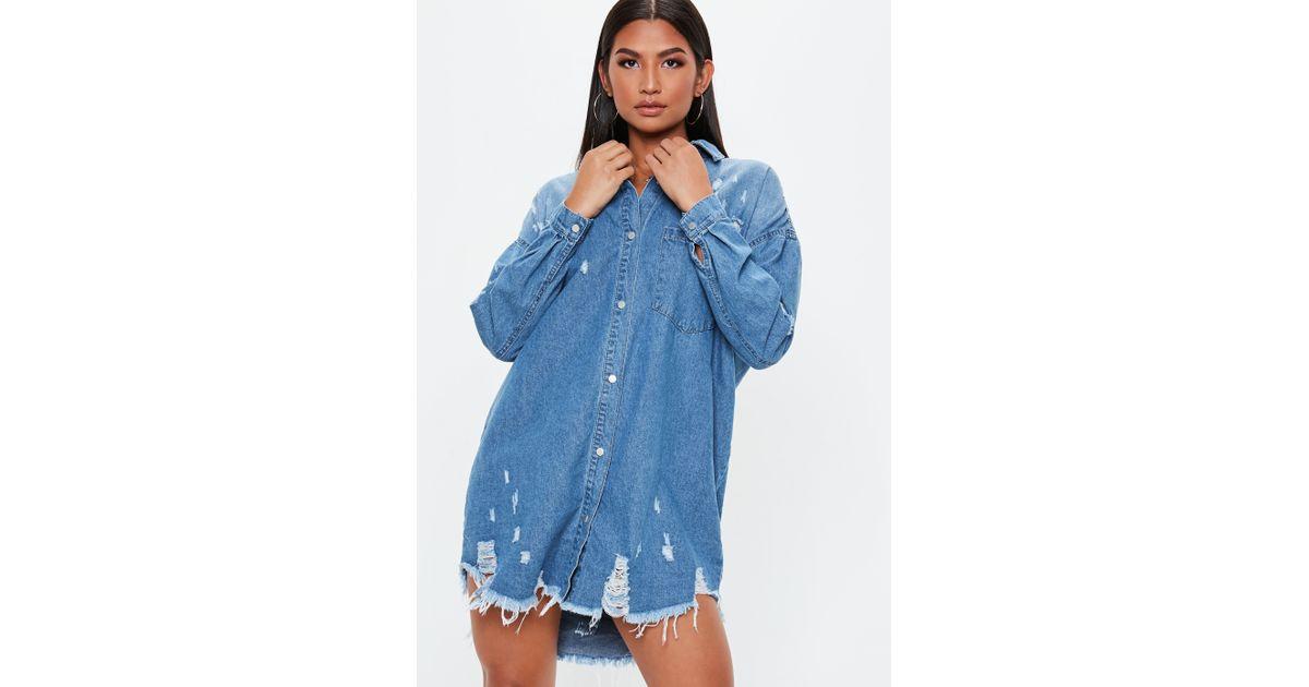 d278cd9a02e Lyst - Missguided Blue Bleachwash Distressed Denim Shirt Dress in Blue