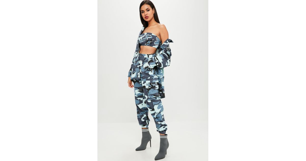0c9e8b7061fe0f Missguided Carli Bybel X Blue Camo Cargo Pants in Blue - Lyst