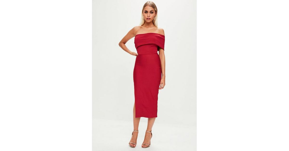fbaa486c4c91 Missguided Red Bandage One Shoulder Split Midi Dress in Red - Lyst