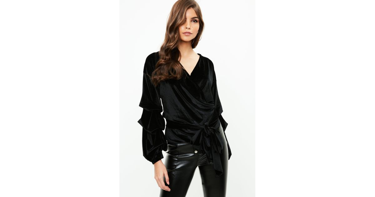 10e43cfdf14f8 Missguided Black Velvet Ruffle Tiered Wrap Top in Black - Lyst