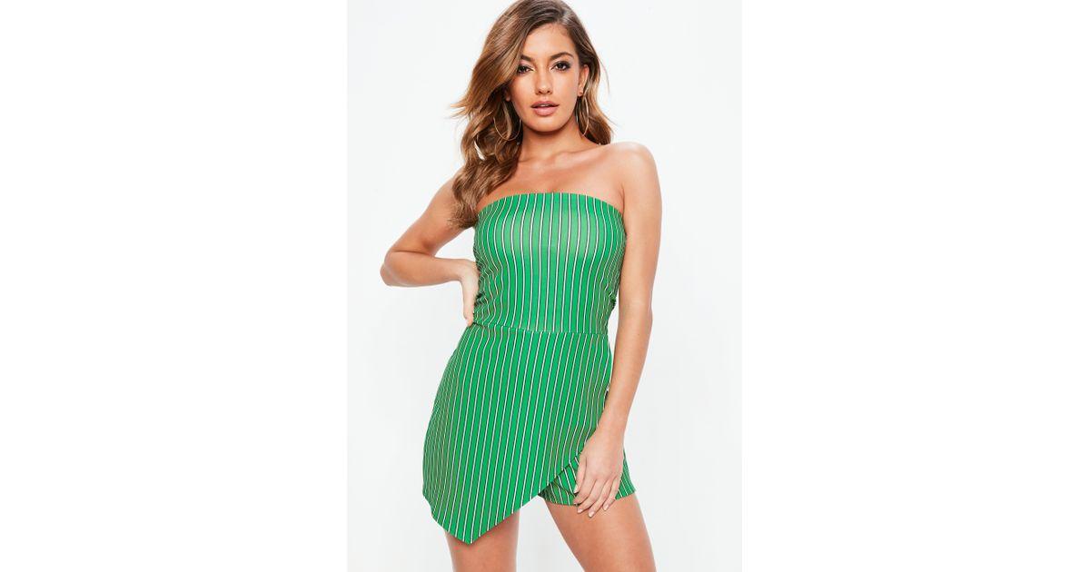 2b3a560b1fe Missguided Green Stripe Wrap Bandeau Playsuit in Green - Lyst