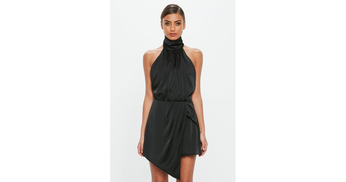 b0acbfcd5ce Lyst - Missguided Peace + Love Black High Neck Satin Wrap Playsuit in Black