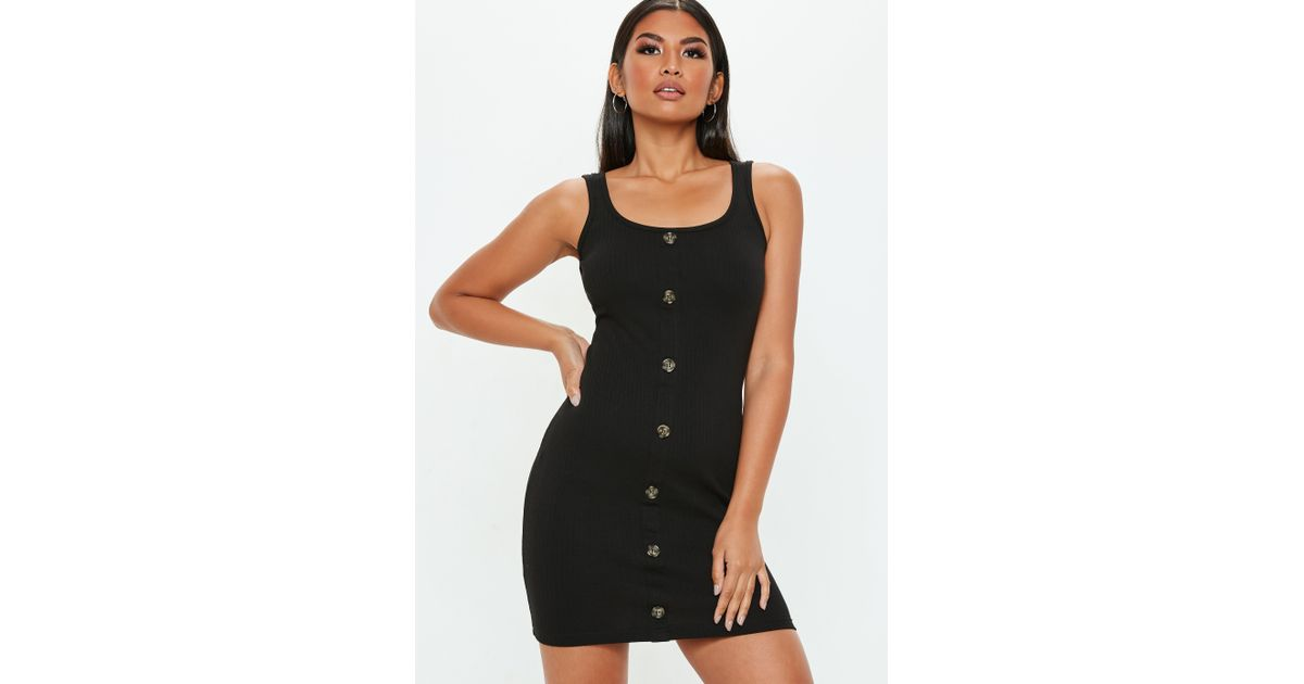 186d5381c0e3fd Lyst - Missguided Black Horn Button Down Sleeveless Square Neck Ribbed Mini  Dress in Black