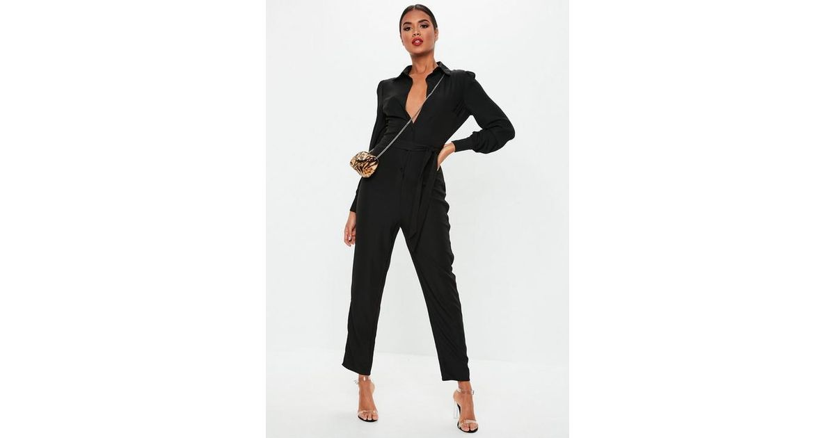 353309cf3185 Missguided Black Puff Sleeve Utility Jumpsuit in Black - Lyst