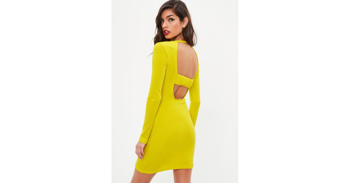 52d27b7499 Lyst - Missguided Yellow Ribbed Long Sleeve Dress in Yellow