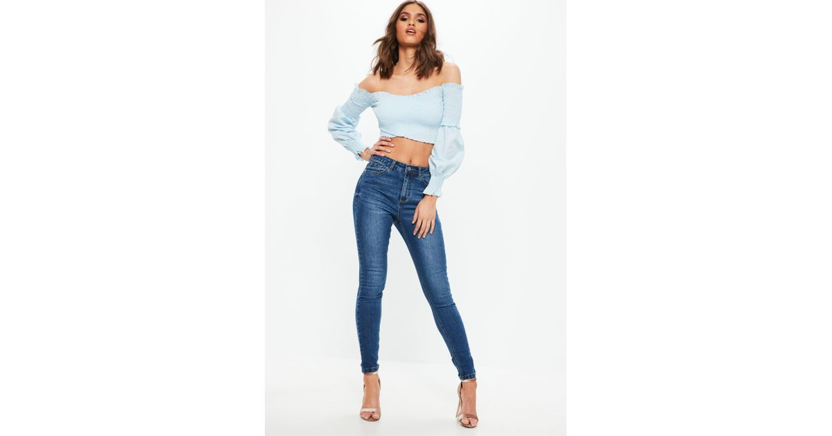 Lyst - Missguided Blue Sinner Authentic Skinny Denim Jeans in Blue 577442f75491