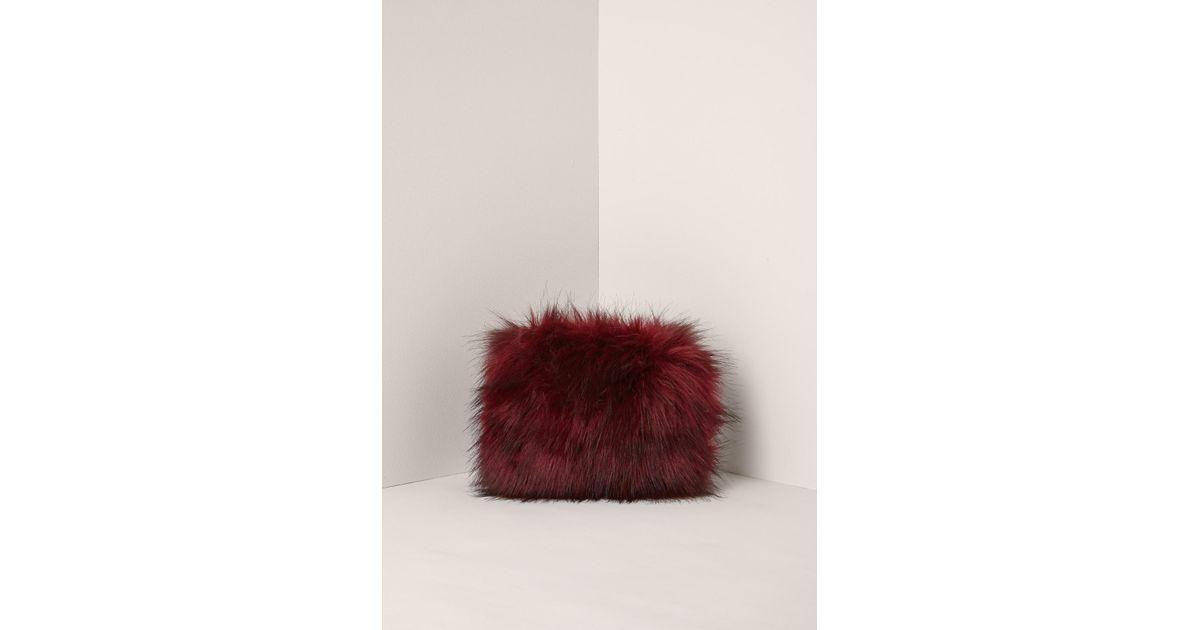 Missguided - Multicolor Red Mini Faux Fur Clutch Bag - Lyst 5454e5ea09091