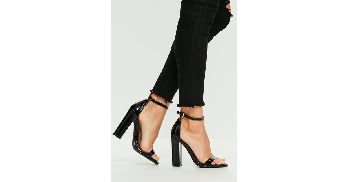 dbc53403a03 Missguided Black Block Heel Vinyl Sandals in Black - Lyst