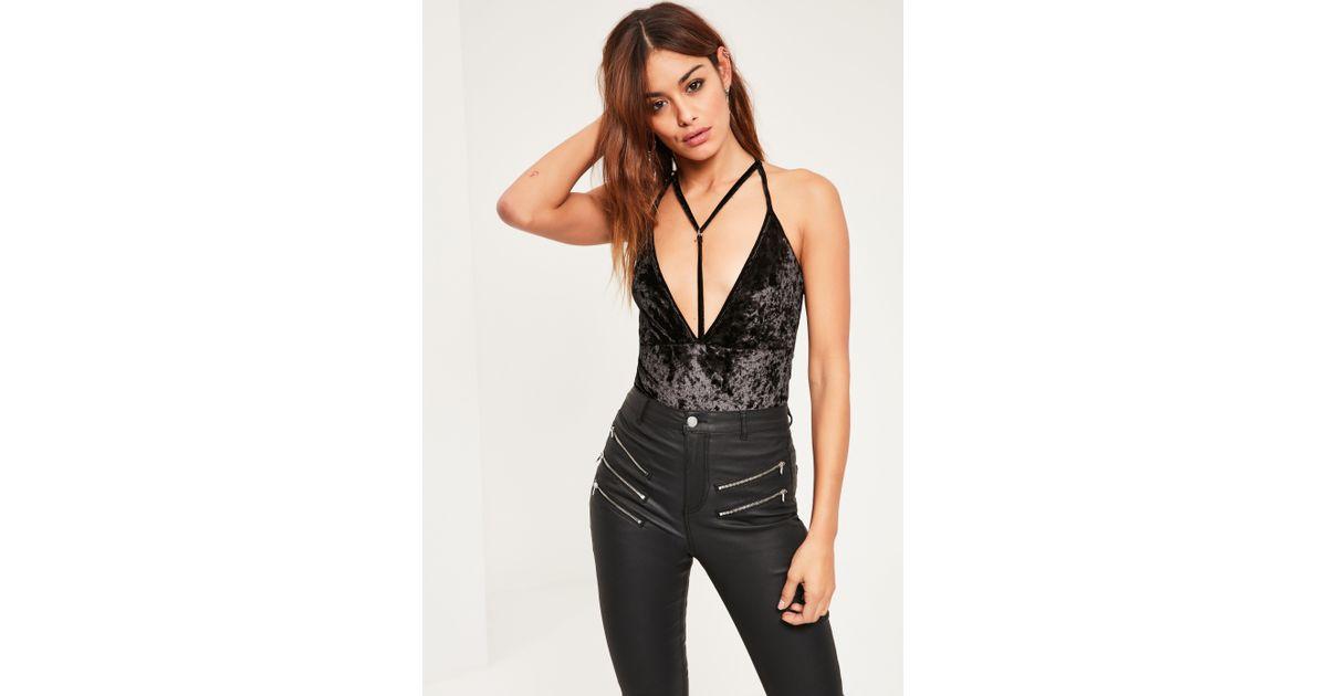 cd2ff47578b Missguided Black Harness Velvet Bodysuit in Black - Lyst