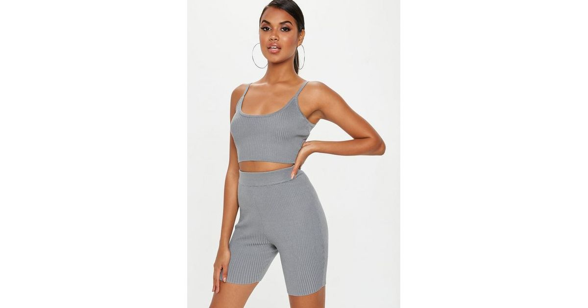 cd2f07596a8 Missguided Grey Strappy Knitted Ribbed Crop Top in Gray - Lyst