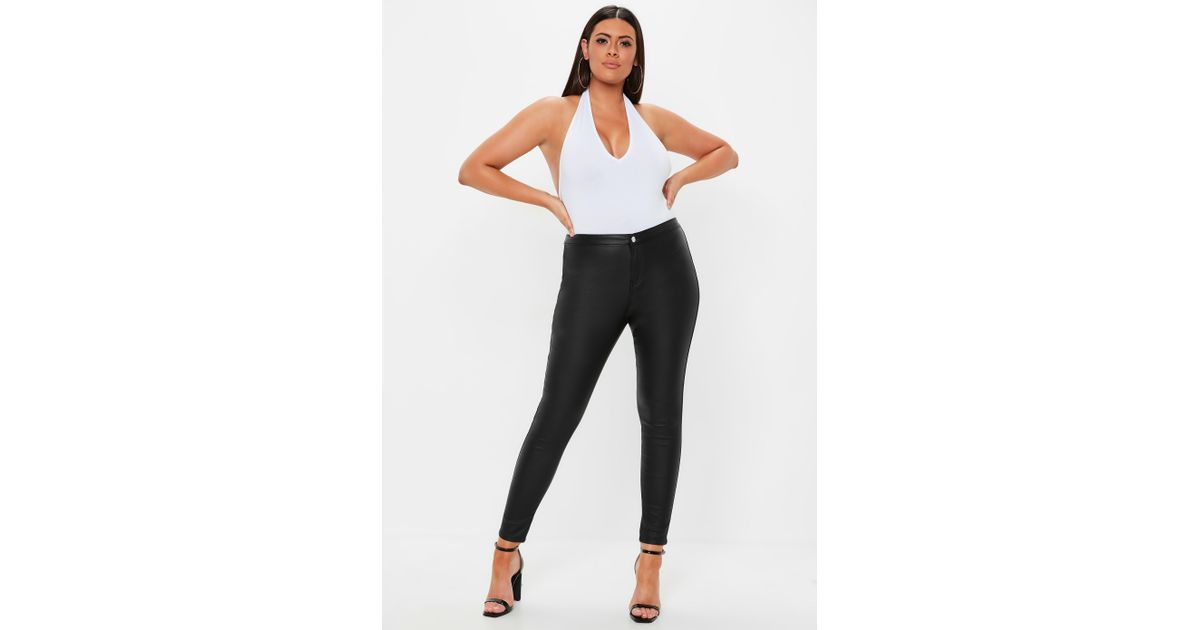 a0ceeeefdff Lyst - Missguided Plus Size Black Vice Highwaisted Coated Skinny Jeans in  Black