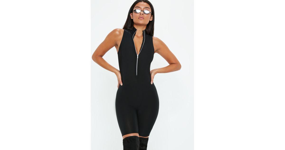 c1567b71ffe1 Lyst - Missguided Black Disco Sleeveless Zip Through Unitard in Black