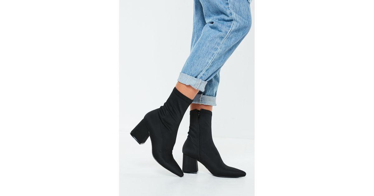 6c8e607d6f3c Missguided Black Mid Heel Sock Boots in Black - Lyst