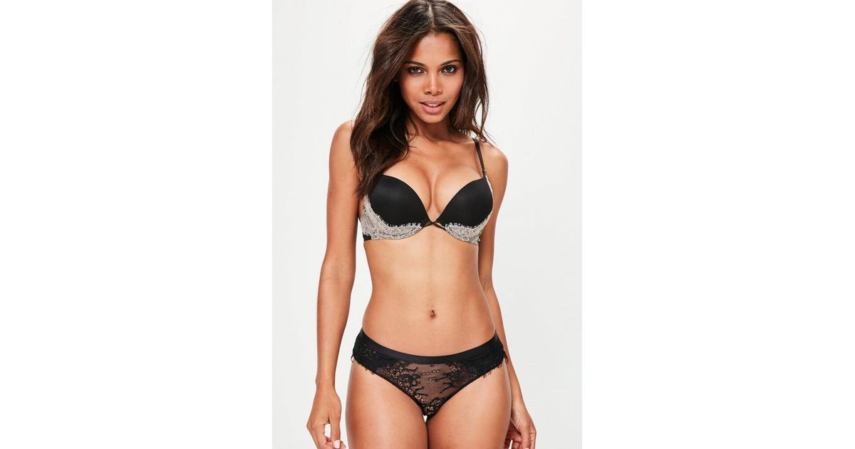 ded3cbfe1d2869 Missguided Black 2 Cup Size Bigger Push Up T-shirt Bra in Black - Lyst