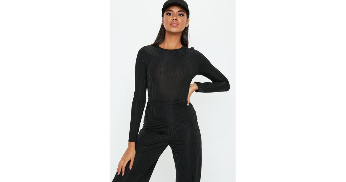 e04e8096b2a Lyst - Missguided Black Shiny Ribbed Long Sleeve Bodysuit in Black