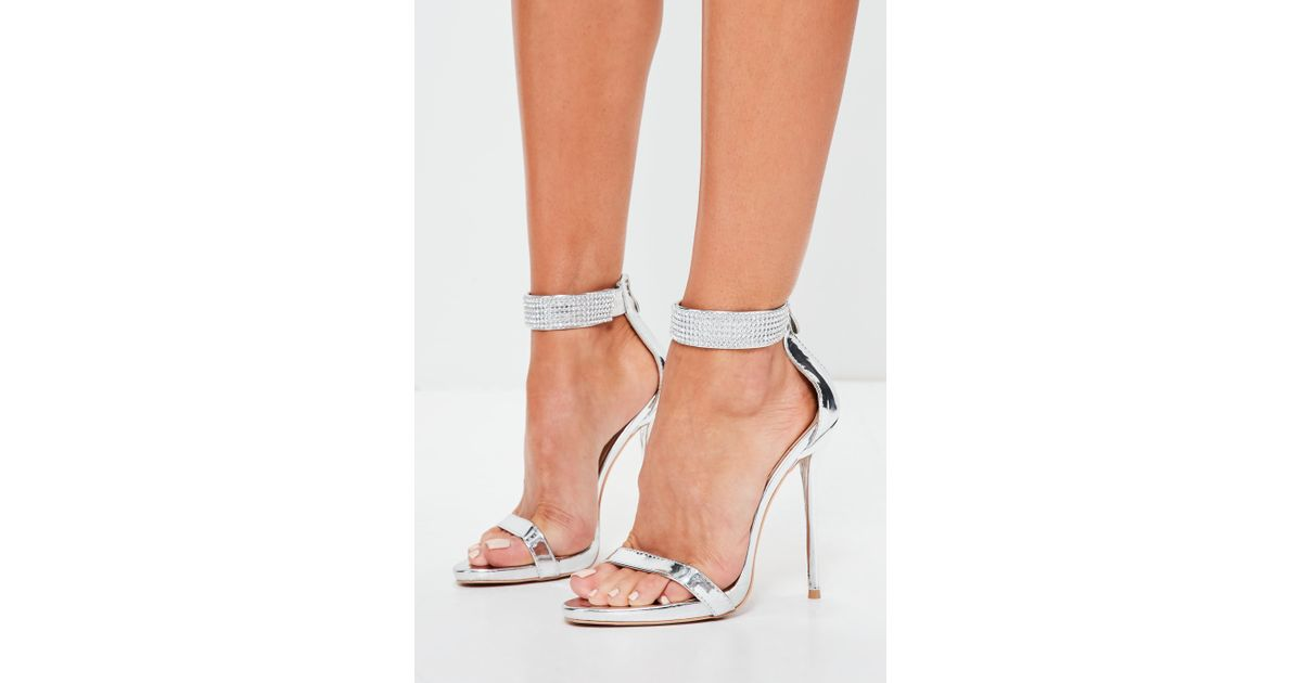c4b90db6e78 Missguided Peace + Love Silver Diamante Ankle Cuff Barley There Heels in  Metallic - Lyst
