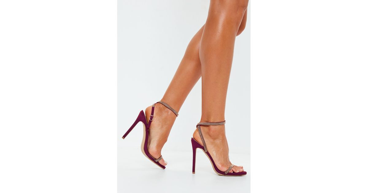 9dc091318c4 Lyst - Missguided Burgundy Chain Trim Barely There Heels