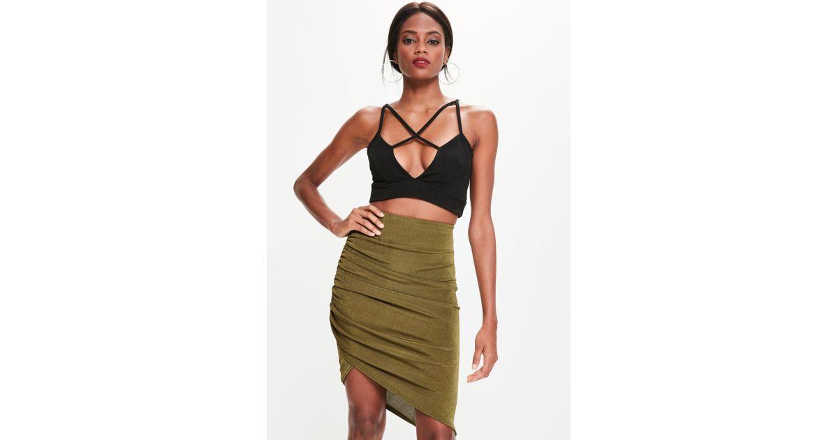 d82b909f06 Lyst - Missguided Khaki Asymmetric Ruched Side Slinky Midi Skirt in Green