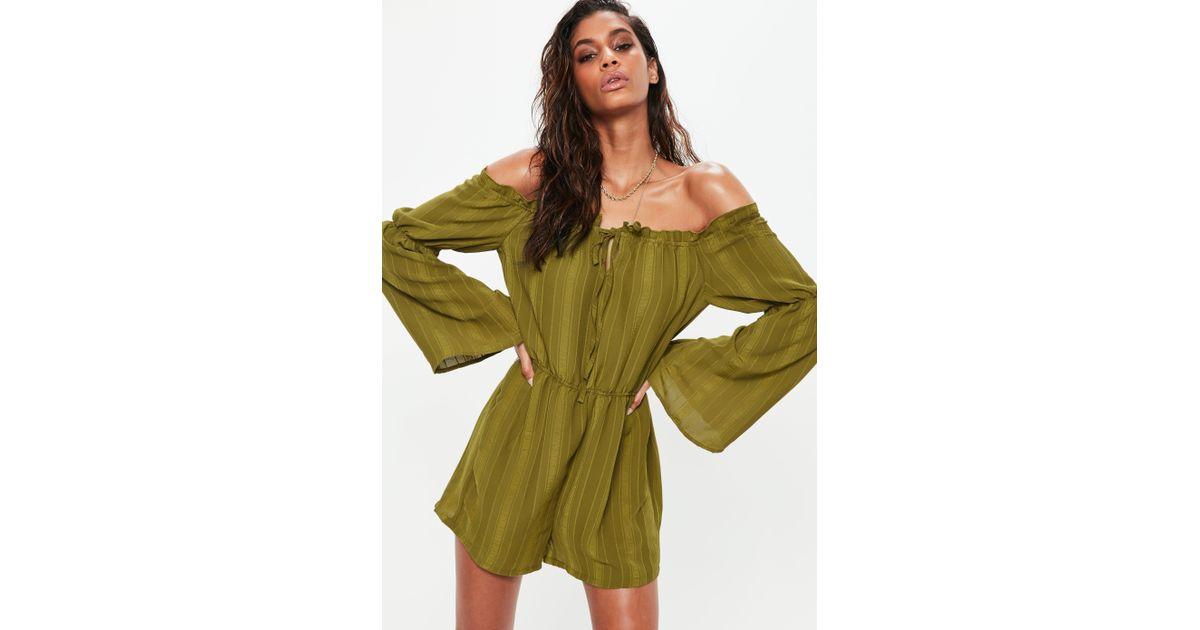 c67f015e605 Lyst - Missguided Khaki Bardot Gypsy Tie Detail Playsuit in Green