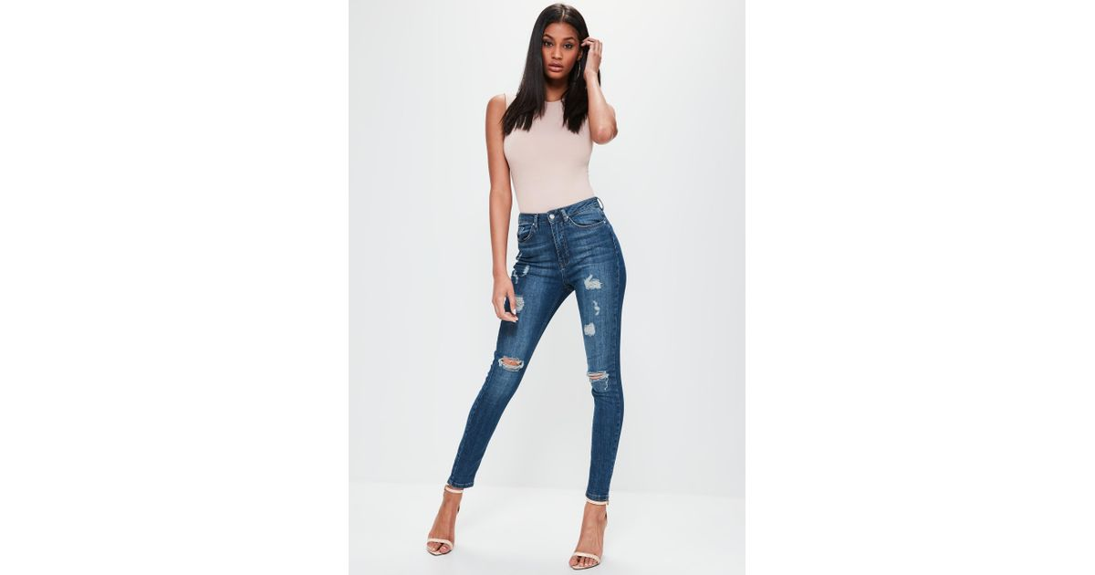 1edcc37087c Lyst - Missguided Sinner Highwaisted Ripped Skinny Jeans Vintage Blue in  Blue
