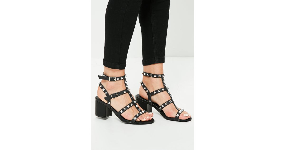 Lyst - Missguided Black Studded T Bar Block Heeled Sandals in Black
