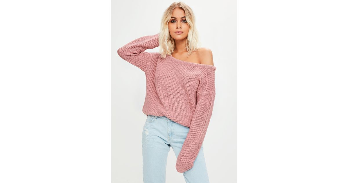 cecc8d0ab4d2 Lyst - Missguided Pink Off Shoulder Cropped Jumper in Pink