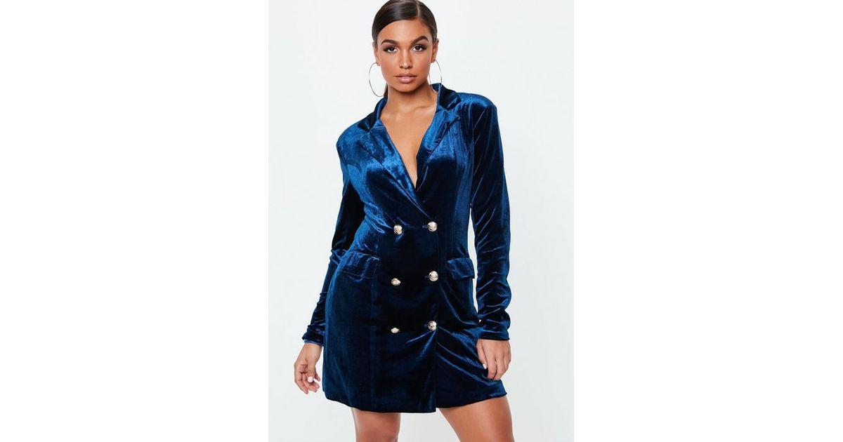 e4ede16453cc Missguided Navy Velvet Double Breasted Blazer Dress in Blue - Lyst