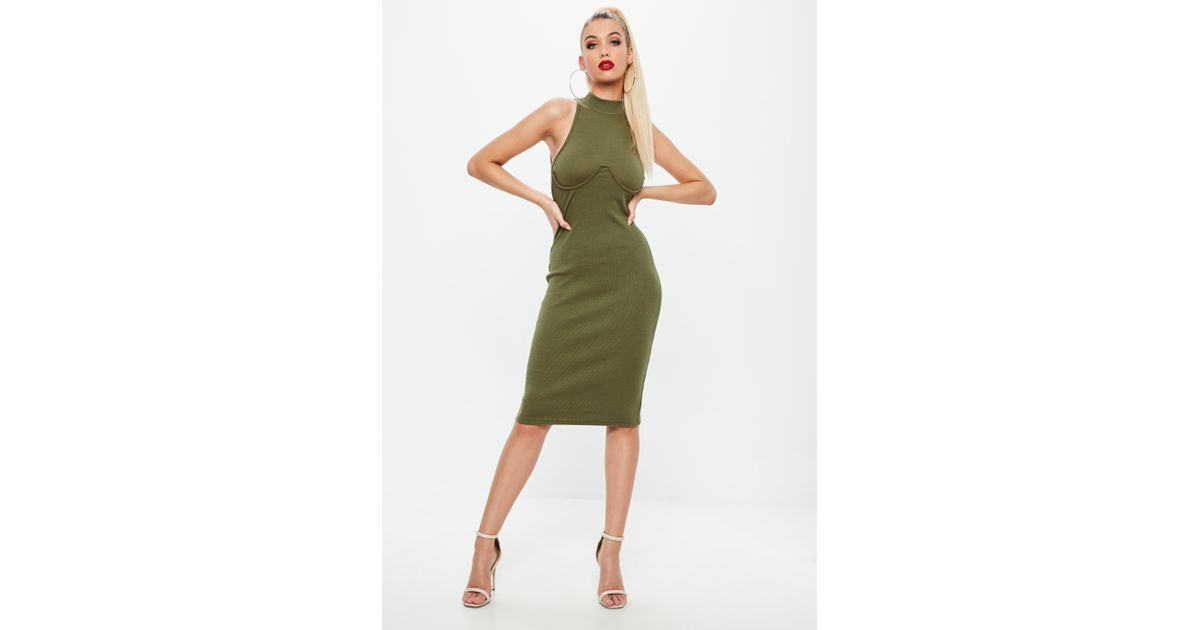 90f3683066d Lyst - Missguided Khaki High Neck Bust Cup Bodycon Midi Dress in Green