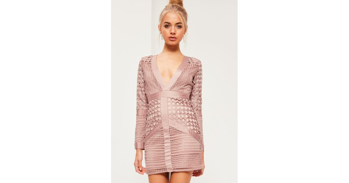 8c0c1265a0 Lyst - Missguided Pink Lace Plunge Bodycon Dress in Pink