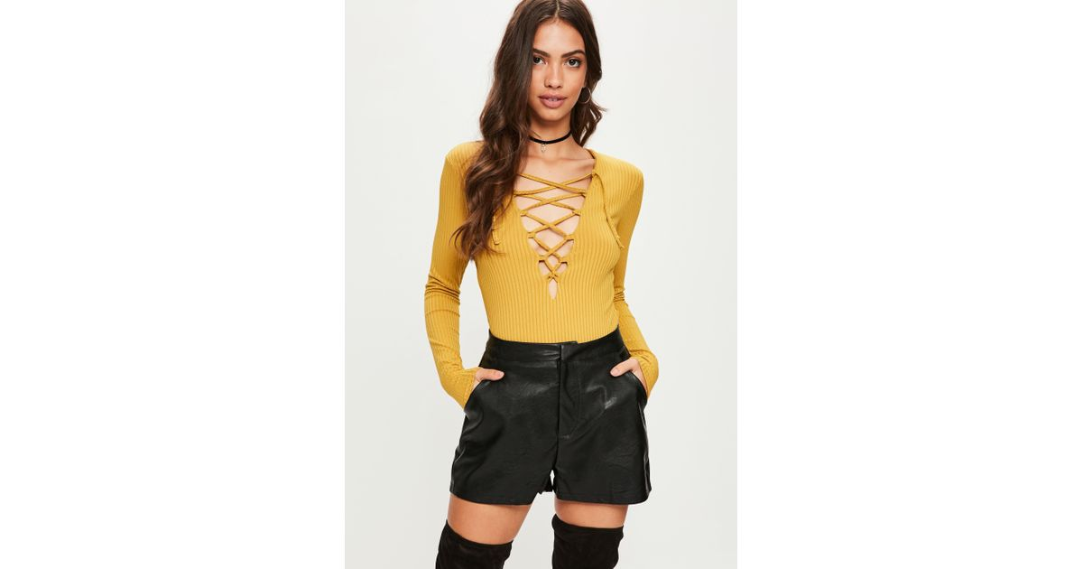 Lyst - Missguided Yellow Lace Up Long Sleeve Bodysuit in Yellow c4092c44e