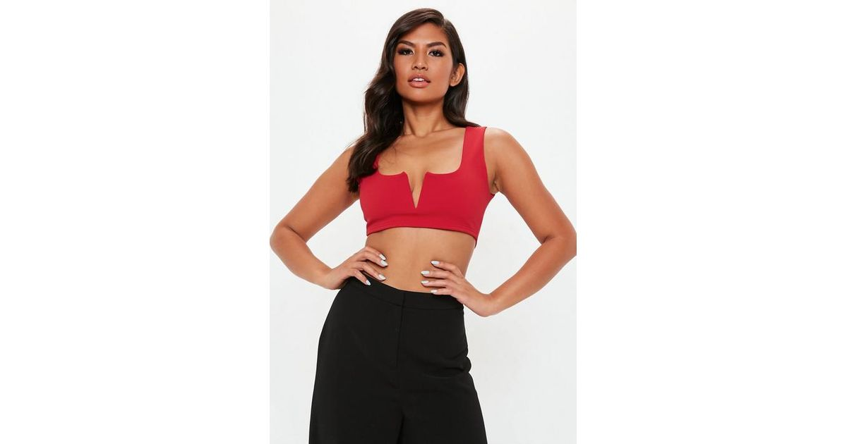 55f59ef737cf3c Missguided Red Notch Neck Bralet in Red - Lyst