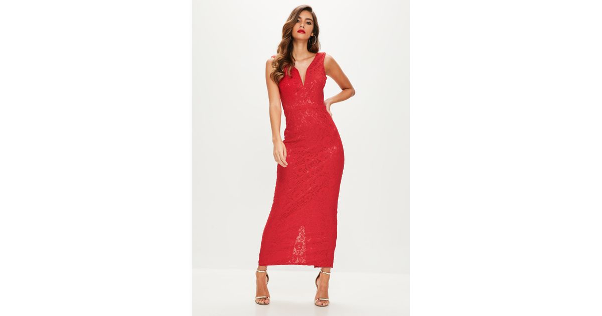 b971e8ad3e Lyst - Missguided Red V Plunge Lace Maxi Dress in Red