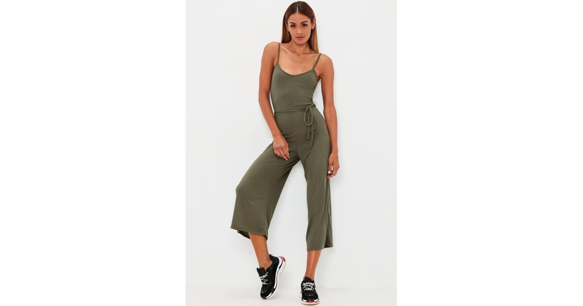 4603a9755f9 Lyst - Missguided Khaki Ribbed Culotte Jumpsuit in Natural