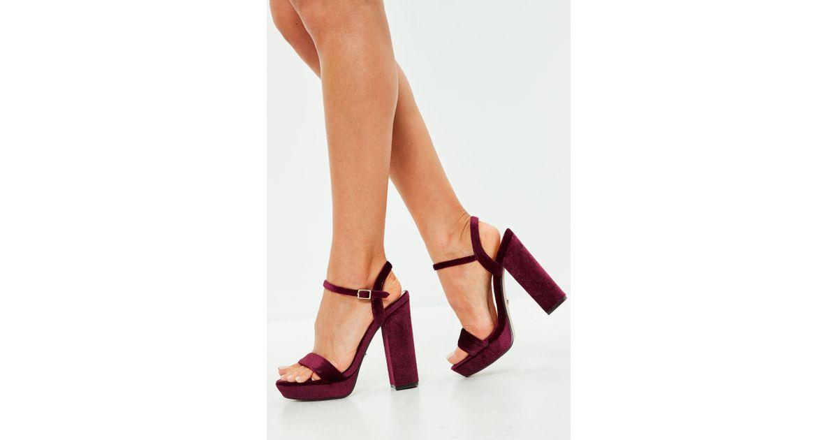15719e57704 Missguided Wine Velvet Two Strap Platform Block Heels - Lyst