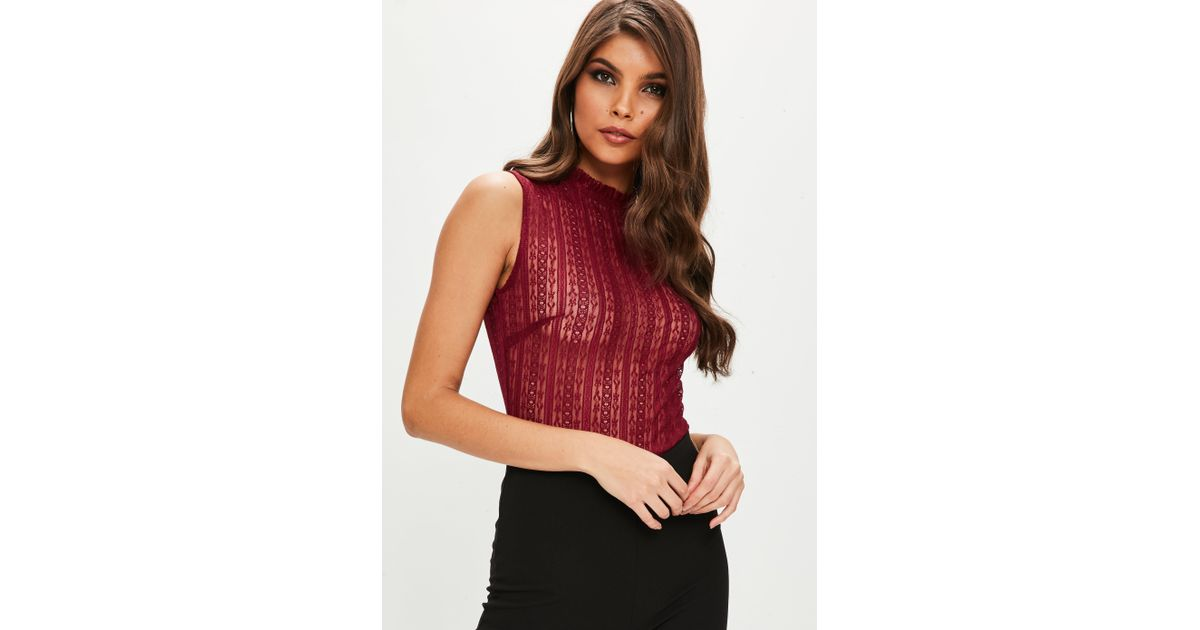Missguided Burgundy High Neck Lace Bodysuit in Red - Lyst a5649a423