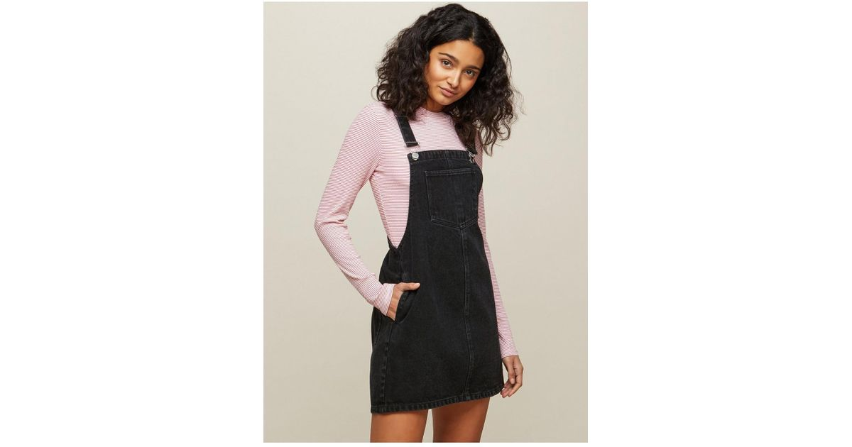 Lyst Miss Selfridge Black Denim Pinafore Dress In Black