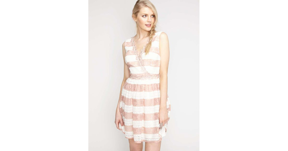 Lyst - Miss Selfridge White And Nude Lace Prom Dress
