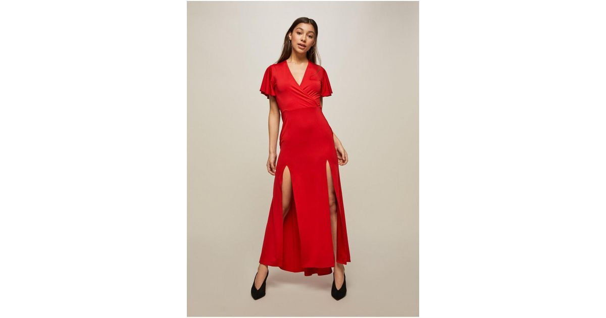 Lyst - Miss Selfridge Petite Red Jersey Prom Maxi Dress in Red