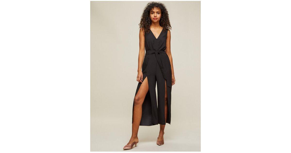 04ee823e11f Miss Selfridge Black Plunge Neck Split Leg Jumpsuit in Black - Lyst