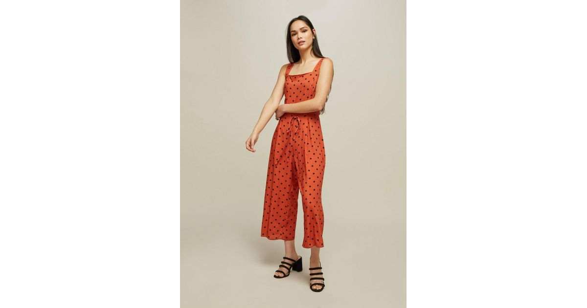 9e6339e7403 Miss Selfridge - Red Rust Spot Print Pinafore Jumpsuit - Lyst