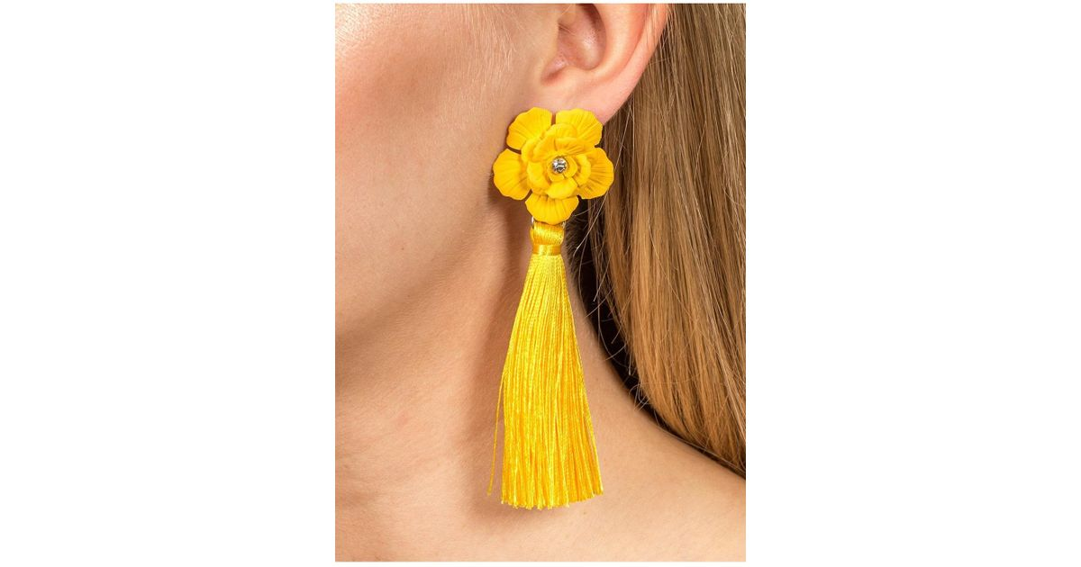 Miss selfridge yellow flower tassel earrings in yellow lyst mightylinksfo