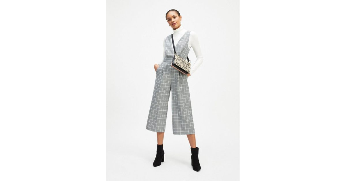 b98ff00e33 Miss Selfridge Grey Check Pinafore Jumpsuit in Gray - Lyst