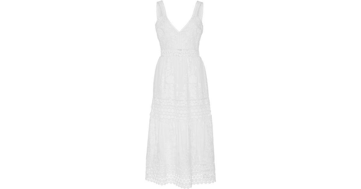 46239f5474 Self-Portrait Plunge Neck Prairie Dress With Organza Slip Detail - White -  Lyst