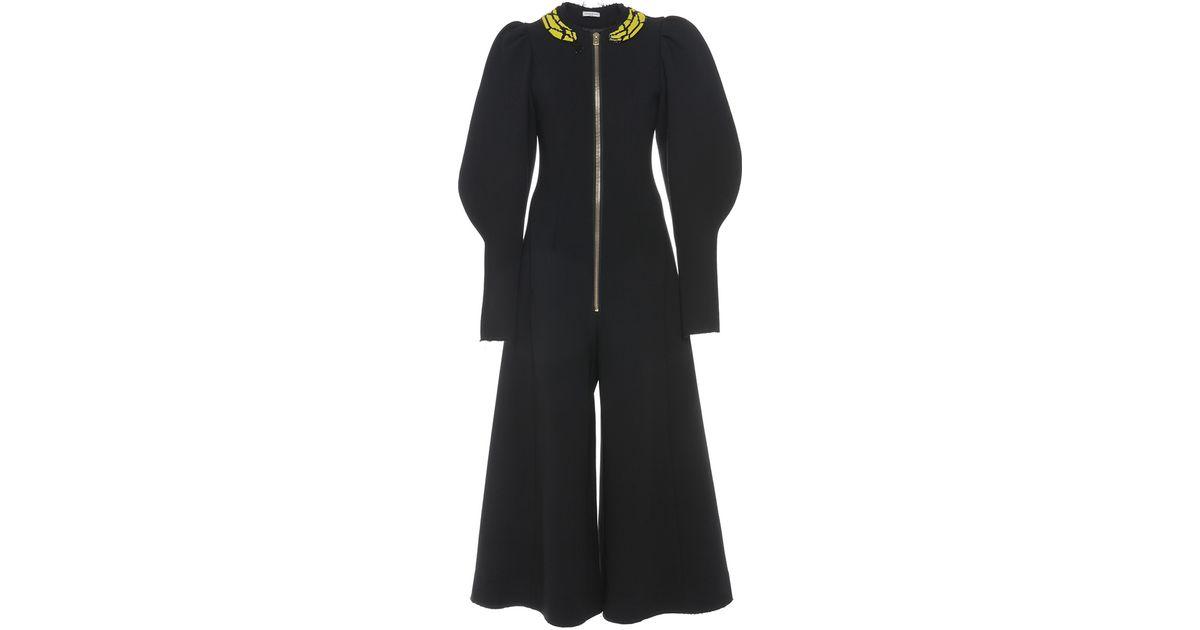 67aaa9fafd7 Natasha Zinko Double Face Wool Puff Sleeve Jumpsuit in Black - Lyst
